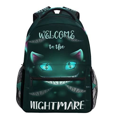 Oarencol Willkommen in der Nightmare Scary Halloween gruselig böse Katze Gesicht Rucksäcke Bookbags Daypack Travel School College Bag für Frauen Mädchen Männer Jungen (Halloween-katze Gesicht Mädchen)
