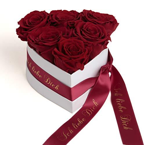 ROSEMARIE SCHULZ Heidelberg Infinity Rosenbox in Herzform mit konservierten Rosen in Dunkelrot Geschenk zum Valentinstag (Burgundy, Medium)