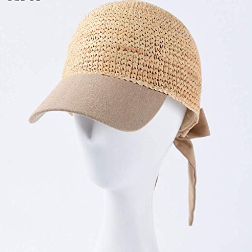 FSDMNFHJEI Frauen Frühling Caps Bast Baseball Caps lässig verstellbare Stroh Lace-up Bogen Visier Kappe (Bogen-baseball-cap)