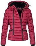 Navahoo Damen Designer Winter Jacke warme Winterjacke Steppjacke Teddyfell B656 [B656-Tabe-Bordeaux-Gr.M]