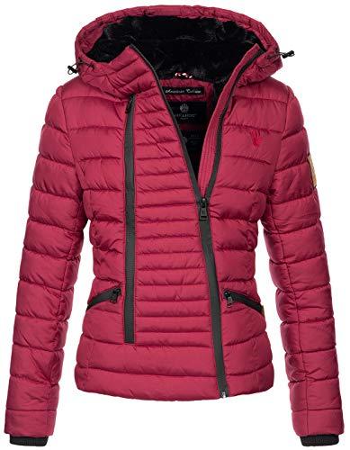 Navahoo Damen Designer Winter Jacke warme Winterjacke Steppjacke Teddyfell B656 [B656-Tabe-Bordeaux-Gr.S]