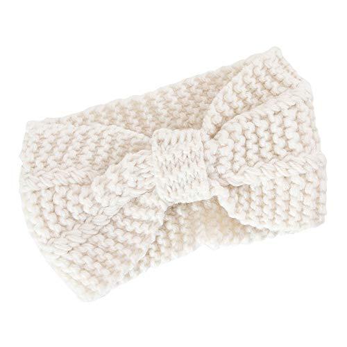 s und nützliches Stirnband Frauen-Haar-Ball-strickendes Stirnband-elastisches handgemachtes Bogen-verdrehtes Entwurfs-Haarband Weiß 20 cm x 12 cm ()