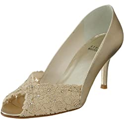 Stuart Weitzman Women's Chantelle Peep-Toe Pump,Gold Chantilly Lace,10 M US