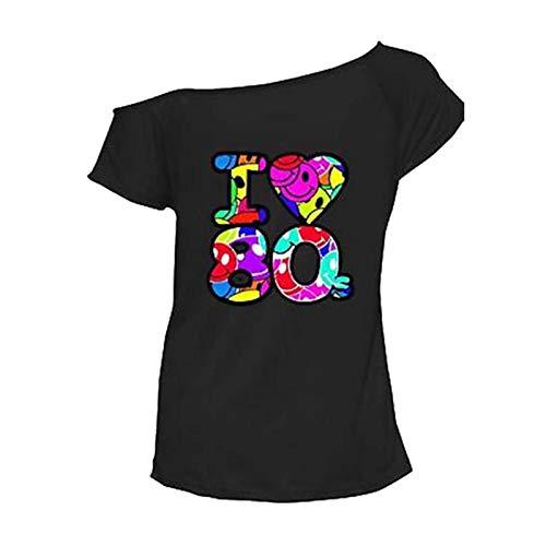 Damen T-Shirt I Love 80s Junggesellinnenabschied, Vintage-Outfit, Rock Star-Top, Kostüm, Übergröße 36-54 Gr. Übergröße (46-48), Schwarz (Übergröße Rock Star Kostüm)
