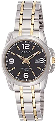 Casio Women's Black Dial Stainless Steel Analog Watch - LTP-1314SG-1