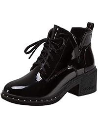Botines tacón Ancho Altas de Cuña para Mujer Otoño Verano 2018 PAOLIAN Botas Chelsea Casual Zapatos