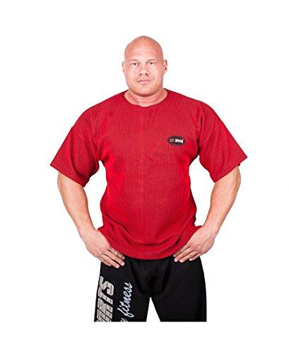 C.P.Sports Fitnessbekleidung, Bodybuilding Kleidung, Traininghose Body Pant Bodybuilding Fitnesshose Jogginghose, Fitness Shirt, Bodybuilding Shirt, Trainings Shirt in 11 versch. Farben S, M, L, XL, X Rot-Shirt