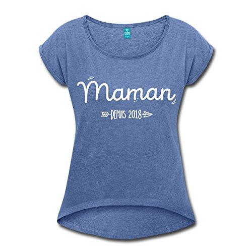 Spreadshirt Naissance Maman Depuis 2018 T-Shirt à Manches Retroussées Femme bleu jeans chiné