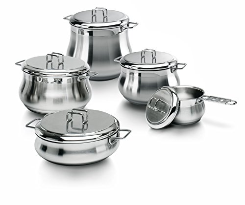 Barazzoni Tummy 10-Piece, Stainless Steel 18/10 Triple Bottom Cookware Set, also Suitable for Induction, Made in Italy