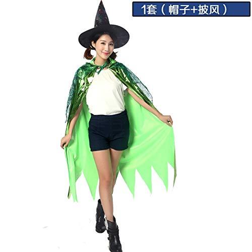 Ya1&Ya Halloween Adult Cape Umhang Hexe Hexe Hut Teufel Fee Cosplay Masquerade Kostüm, grün