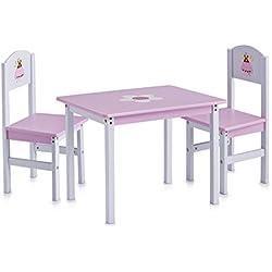 Zeller 13442 Princess - Juego de muebles infantiles de tablero DM (3 piezas; mesa: 60 x 48 x 45 cm, sillas: 28 x 26 x 54 cm)