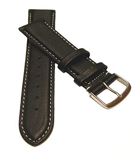 18 mm Uhrenarmband XL Überlänge Kalbsleder mit weißer Naht schwarz, Uhrenband Uhren Leder Armband (18 Mm Uhrenarmband Lang Extra)