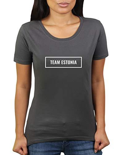Team Estonia - Estland - Eesti - Damen T-Shirt von KaterLikoli, Gr. L, Anthrazit
