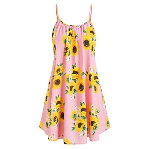 Yvelands Damen Sommerkleider Set Mode Kurzarm Bogen Knoten Verband Top Sunflower Print Minikleid Anzüge(Pink1,EU-34/S)