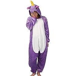 Tier Karton Kostüm Einhorn PyjamaTierkostüme Jumpsuit Erwachsene Schlafanzug Unisex Cosplay L(Höhe162-175CM) Violett