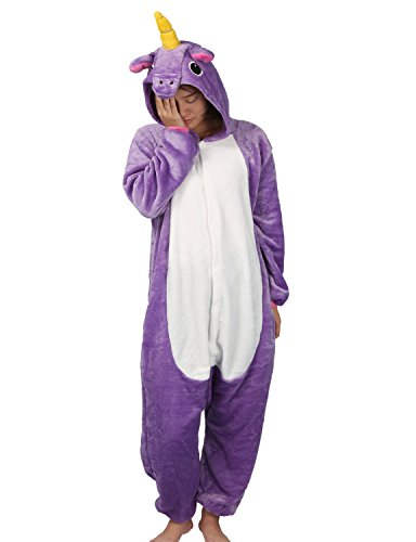 Pigiama unicorno cosplay intero unisex animale costume halloween carnevale attrezzatura festa party sleepwear tuta- mescara (m, violett)