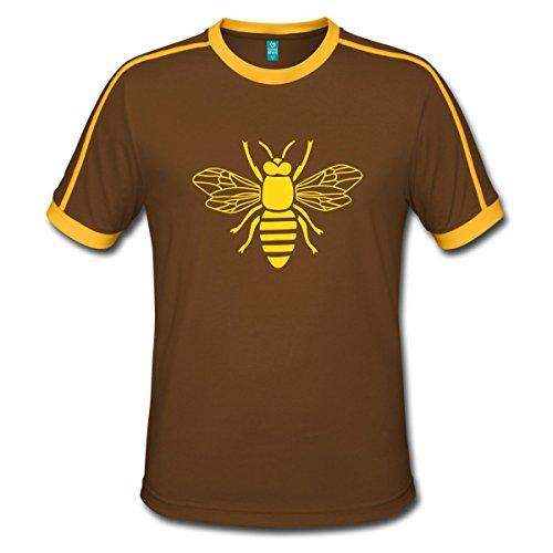 Spreadshirt Biene Hummel Wespe Insekt Fleißig Bienchen Männer Retro-T-Shirt, L, Chocolate/Sun (Hummel Mann Kostüm)