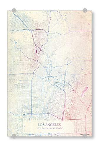 artboxONE Acrylglasbild 45x30 cm Städte Los Angeles USA Karte Rose Und Serenity III - Bild Städting