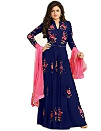 Skyblue Fashion Blue Georgette Embroidered Semi Stitched Salwar Suit
