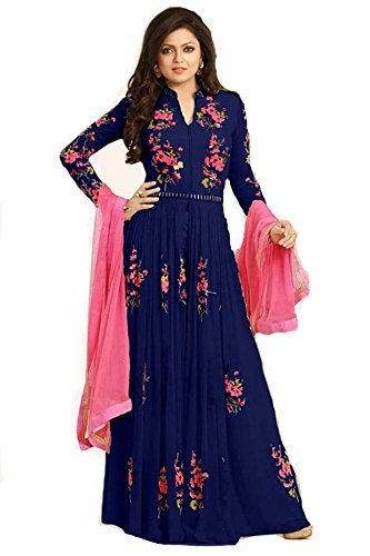 Sale Offer Women's Georgette Blue Embroidered Designer Semi Stitched long Anarkali Style Suit  available at amazon for Rs.1199