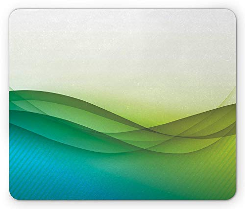 ASKSSD Abstract Mouse Pad, Modern Circled Wavy Like Green Color Rainbow Seem Ombre Artwork, Standard Size Rectangle Non-Slip Rubber Mousepad, Green Blue Yellow and White -