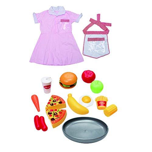 Toyvian Kinder Schürzen Set mit Kinderschürze Kochmütze und Lebensmittel Spielzeug Mädchen Kinder Chef Rollenspiel Kostüm Küchenspielzeug (Rosa) (Kinder Lebensmittel Kostüm)