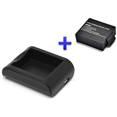 Theoutlettablet® Cargador externo para cámara deportiva acción DV SJCAM SJ4000 SJ5000 - Vtin Eypro 1 Sport Cam + Batería reemplazo 900 mah