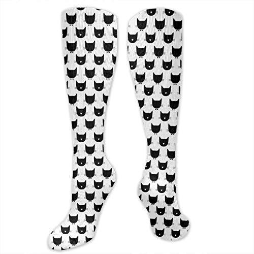 Needyo Strümpfe Kompression,Laufsocken,Black CatS Unisex Long Tube Knee High Soft Classicl Socks Stockings für Sport,Medi,Flug, Reisen,Schwangerschaft & Medizinische Set 2t 4t-sets