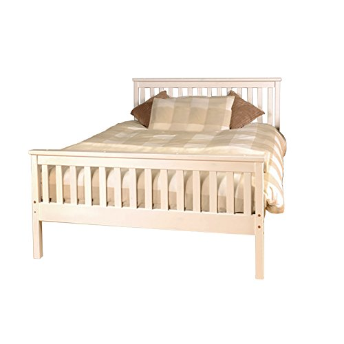 Comfy Living 5ft King Atlantis Style Wooden Pine Bed Frame in White