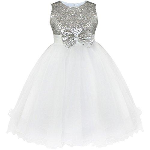 Freebily Vestido Elegante de Princesa Fiesta Boda para Niña (2 a 14 Años) Vestido Brillante con Lentejuelas Plateado 2 años