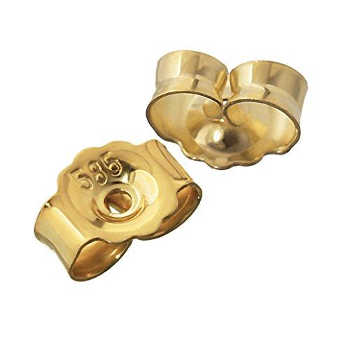 NKlaus 1 Paar 585 Gelbgold Gegenstecker Ohrstecker Ohrstopper Loch 0,8mm Ohrmutter 4822