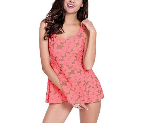 Hippolo Damen Badeanzug Siamesisches Dreieck war dünn kirschblüten Größe der Brust und Fett, um Bademode zu erhöhen (XXXL) (Badeanzug Fett)