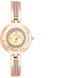 LimeStone Beautiful Studded Party Wear Rose Gold Metal Strap Analog Watch For Women's/Girl's With Elegant Design