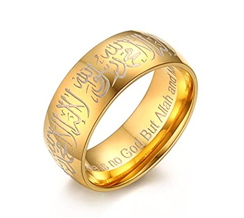 Vnox Stainless Steel Shahada Allah Band Arabic Islamic Moslem Religious Muslim Ring Jewelry Gold,UK Size R