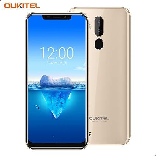 OUKITEL C12 Pro – 4G Smartphone Libre DE 6.18' HD 19:9 IPS con Antihuellas Quad-Core 2 + 16GB SIM Doble Telefonos Moviles Android 8.1 Cámara 8MP+5MP Face ID 3400mAh Batería Versión Europea - Oro