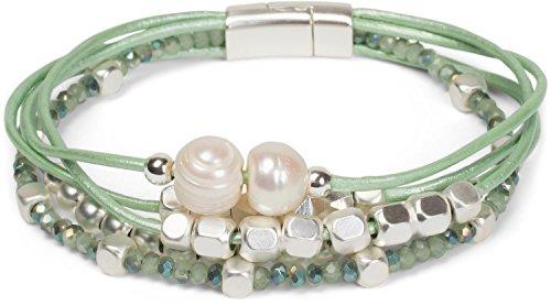 styleBREAKER Armband mit feinen Bändern, Perlen und Schmucksteine, Magnetverschluss, Armschmuck, Schmuck, Damen 05040134, Farbe:Mint
