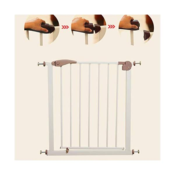 Child safety gate bar free punching stairs barrier baby baby stair railing kitchen pet dog guardrail (75-82cm) AA-SS-Safety Door ♥Squeeze and lift handle for easy one handed adult opening ♥Quick-release fittings for removal when not required ♥Includes stop pins for mounting at the top of stairs 2