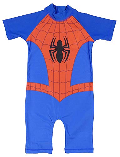 Childrens Character Jungen Sonnenschutz Schwimmen Super Hero Einteiler Bademode Kleid Up - Spider-Man, Größe 98