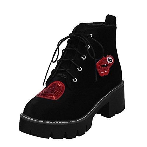 Mee Shoes Damen chunky heels runde Nubukleder Plateau Ankle Boots Schwarz(mit Zeichnung)