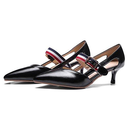 TAOFFEN Femmes Kitten Heel Escarpins Black