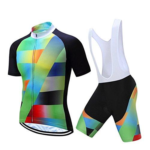 CHUANMEI Mens Radfahren Jersey Team Radsportbekleidung Jersey Bib Shorts Kit Shirt Quick Dry Fahrrad Outdoor-Bekleidung, White -
