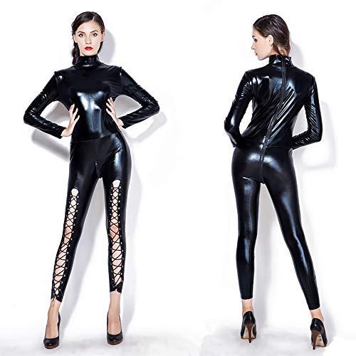 Neue Catwoman Kostüm - HJG Damen Wet Look Zipper Catwoman Cosplay Kostüm, Lederbodysuit