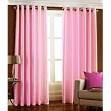 Homefab India Royal 2 Piece Eyelet Polyester Door Curtains - 7ft, Pink