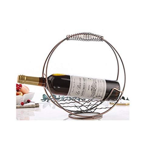 YHEGV Weinflasche Rack, Retro kreative Schmiedeeisen Metall Wein Ornamente für Home Restaurant Bar Dekorationen Geschenke (Farbe: Kreis) -