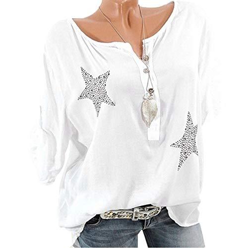 Camicia Donna Elegante Manica Lunga 3/4 Estive Bluse e Camicia Elegantei Casual Button Taglie Forti Sciolto Girocollo Hot Drill Stampa Sexy Moda