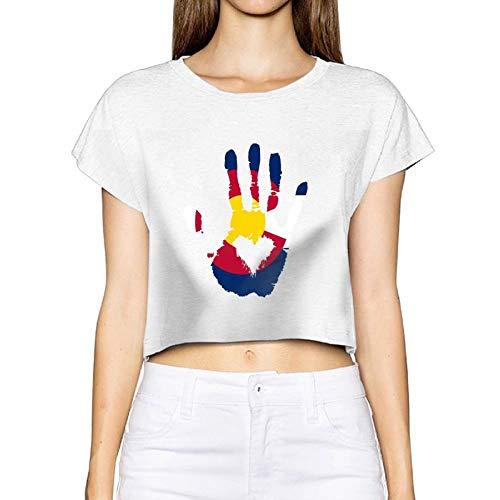 Frauen sexy enthüllte T-Shirt Colorado Flagge Finger Palm Herz Kurzarm Bluse Tops Tee Nabel (X-Large, weiß) -