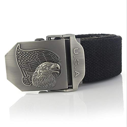 YUANZYYD Tactical Belt,Black Luxury Usa Eagle Canvas Belt Alloy Buckle Military Men Belt Army Tactical Belts for Men Male Strap,100Cm - Eagles Black Metal