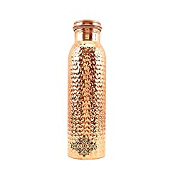 IndianArtVilla Copper Hammered Bubble Design Bottle |550 ML| for Storage Water Home Restaurant Good Health Benefits