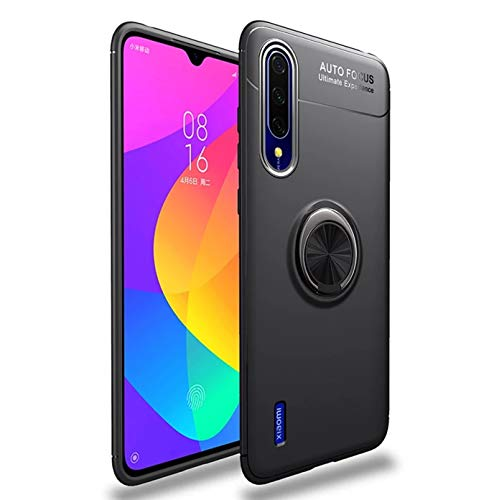 Designerz Hub® Sleek Rubberized Case with Chrome Plating Ring Stand Back Cover Case Designed for Xiaomi Mi A3 - (Black)