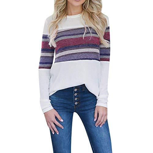 Preisvergleich Produktbild JUSTSELL Langarmshirts Pullover für Damen Herbst Winter, Frauen Gestreift T Shirt Rundhalsausschnitt Bluse Casual Tops Freizeit Streetwear Oberteile